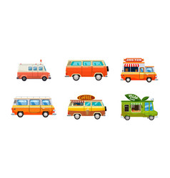 Minivan icon set cartoon style vector