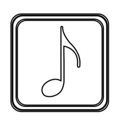 monochrome contour with button of sign eighth note vector image