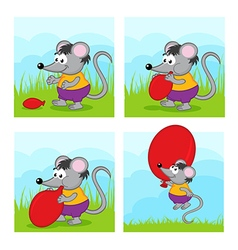 Mouse inflates balloon vector
