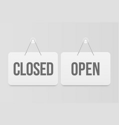 Open and closes signs white hanging door signage vector