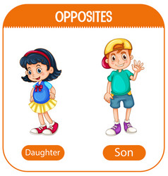 Opposite words with daughter and son vector