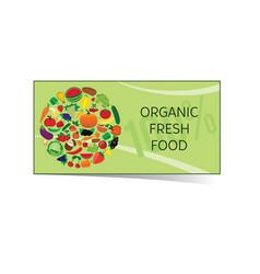 Organic fresh food card vector