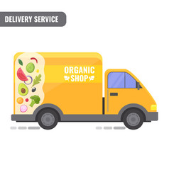 organic shop delivery concept the van with the vector image