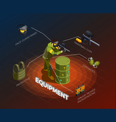 paintball player isometric infographics vector image