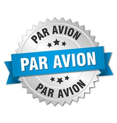 Par avion 3d silver badge with blue ribbon vector