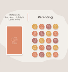 Parenting social media story and highlight cover vector