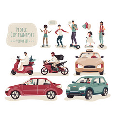 people using different kinds transport set of vector image