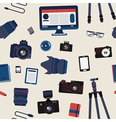 Photographer Set Seamless Pattern vector image
