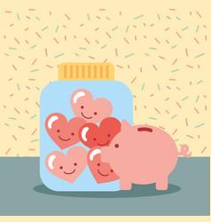 Piggy bank jar full love hearts donate charity vector
