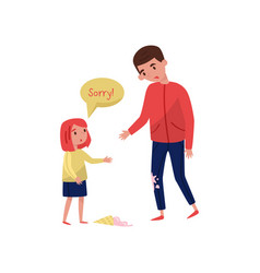 Polite little girl apologizing to young guy for vector