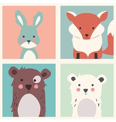 Rabbit fox two bears animal set vector
