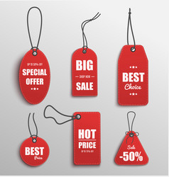red price tag set with special offer and best vector image