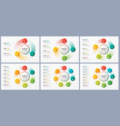 Rotating circle chart templates infographic vector