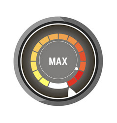 round speedometer with bars from yellow to red vector image