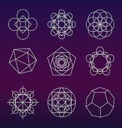 Sacred geometry symbols set vector image