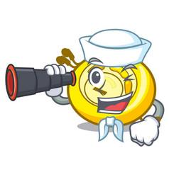 Sailor with binocular cd player mascot cartoon vector