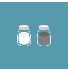 Salt pepper shaker Glass container set Flat design vector image