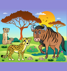 Savannah scenery with animals 5 vector