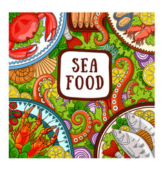 sea food design concept for shop restaurant vector image