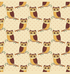 seamless pattern with hand drawn owls vector image