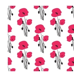 Seamless pattern with small red poppy flowers vector image