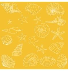 Seashells and starfish pattern vector