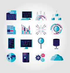 set icons business and technology vector image