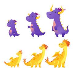 set of cute dragon vector image vector image
