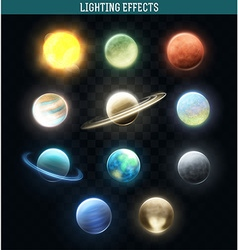 Set realistic bright planets Light cosmic effects vector