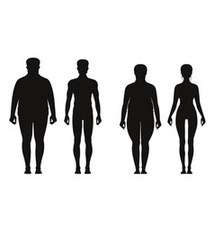 Silhouette of fat and thin peoples weight loss of vector