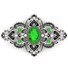 Silver jewelry brooch vintage with emeralds and vector