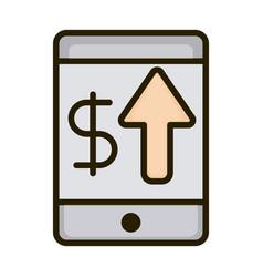 smartphone money up arrow business financial vector image
