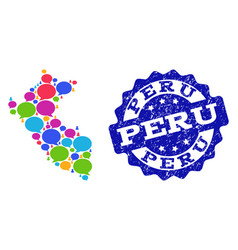 Social network map of peru with talk bubbles and vector