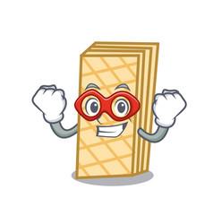Super herosuper hero waffle character cartoon vector