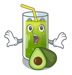 Surprised avocado smoothies are isolated on vector