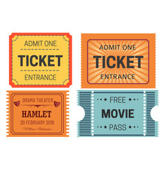 tickets cinema and theater isolated paper pieces vector image