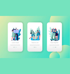 tourist couple travel mobile app page screen set vector image