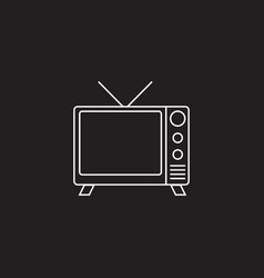 Tv line icon outline logo vector