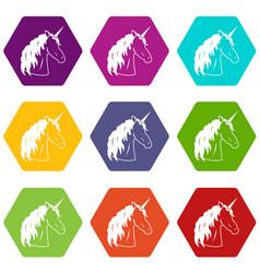 unicorn icon set color hexahedron vector image