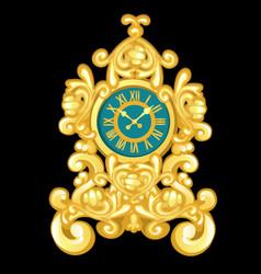 Vintage golden cartoon table clock isolated vector