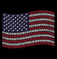 Waving american flag stylization of space rocket vector