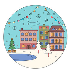 winter in city decorated street for christmas vector image