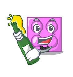 With beer toy brick mascot cartoon vector