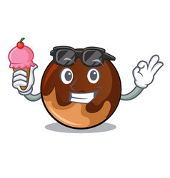 with ice cream chocolate donut character cartoon vector image