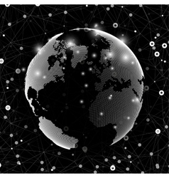 World globe global network Molecule structure vector image