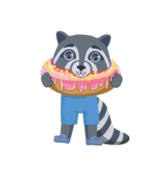 Boy Raccoon With Giant Doughnut vector image