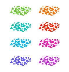 flower colorful decorative elements vector image