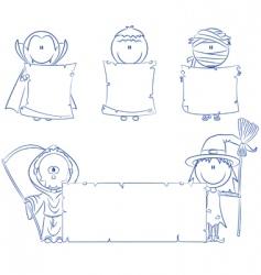 Halloween characters with empty banner vector image vector image