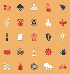 Clean concept classic color icons with shadow vector image
