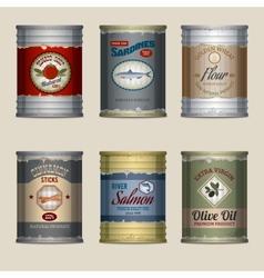 Food cans set vector